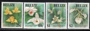 Belize # 1009-12 ~ Cplt Set of 4 ~ Orchids ~ Unused, HM