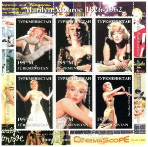 TURKMENISTAN MNH S/S Marilyn Monroe Cinema 1997