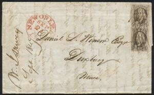 #1 F-VF VERT PAIR ON 1849 FOLDED LETTER TO DUXBURY, MASS W/ MS CANCELS HW1662