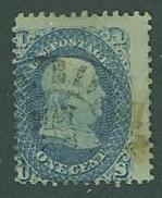 USA SC#63a Franklin, 1c, ultramarine, used