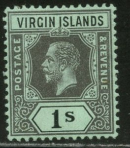 VIRGIN IS. Sc#44 SG75 1913 KGV 1sh black on green OG Mint Hinged