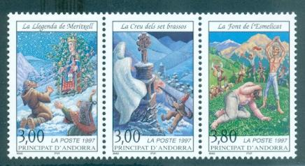 Andorra - French #487a  MNH  Scott $5.00   Strip of 3