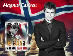 SIERRA LEONE - 2020 - Magnus Carlsen - Perf Souv Sheet - Mint Never Hinged