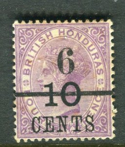 BRITISH HONDURAS; 1891 surcharged QV issue Mint hinged Shade of 6/10 CENTS