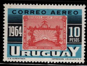 Uruguay Scott C282b MH* Olympic stamp on stamp from souvenir sheet.