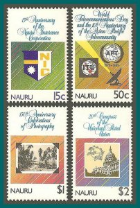 Nauru 1989 Anniversaries, MNH #358-361,SG373-SG376