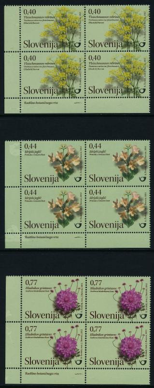 Slovenia 941-3 (MI955-7) BL Blocks MNH Flowers