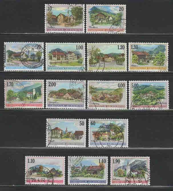 Liechtenstein # 1068//77 + # 1167-74 ~ 15 Different ~ Used, HMR ~ cv 30.60+
