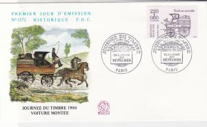 France 1988 Horse & Carriage Pic Slogan Cancels Wagon Stamp FDC Cover Ref 31655