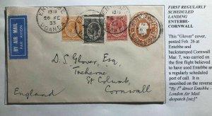 1932 Entebbe Uganda First Regularly Flight Cover FFC To Cornwall England