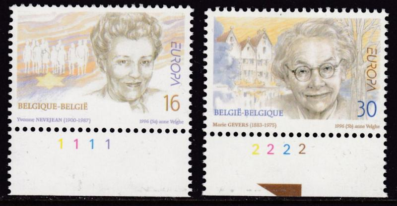 Belgium 1996 Europa issue (2) Famous Women Judaica Poets VF/NH