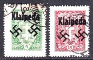 LITHUANIA 212, 214 WW2 KLAIPEDA OVERPRINT CDS VF SOUND
