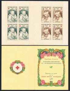 France B392-B393a booklet,MNH.Michel 1532-1533 MH. Red Cross-1965.A.Renoir.