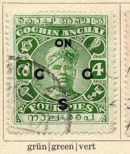 Cochin 1918-22 Early Issue Fine Used 4p. Optd 322448