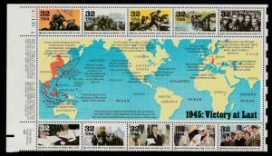 US Sheet of 10, Scott# 2981, MNH, 1945, Victory at last mini sheet, plate number