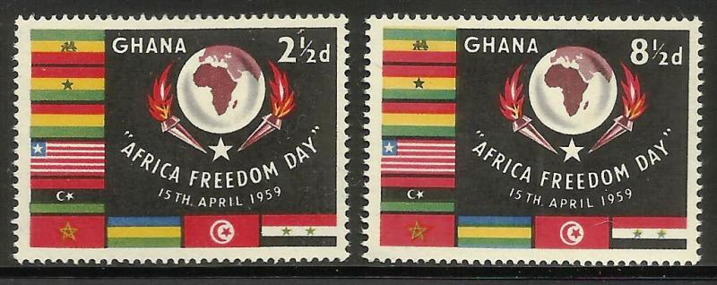 Ghana 1959 Scott# 46-47 MNH