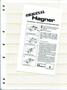 20 HAGNER 8 POCKET WHITE STOCK SHEETS 2 PACKAGES OF 10 - SINGLE SIDED