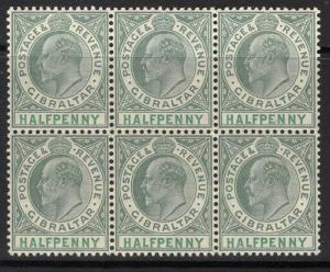 GIBRALTAR SG56 1904 ½d DULL & BRIGHT GREEN MNH BLOCK OF 6