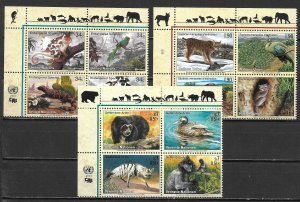 United Nations 773a, G 370a, V 287a 2001 Endangered Species Block MNH (lib)