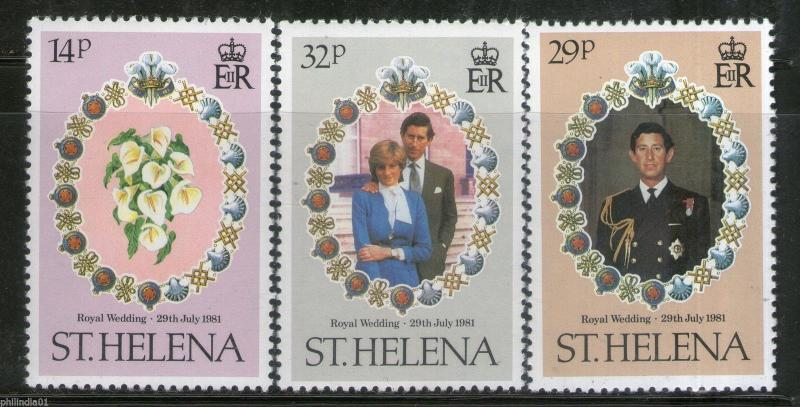 St. Helena 1981 Princess Diana & Charles Royal Wedding 3v MNH # 2890