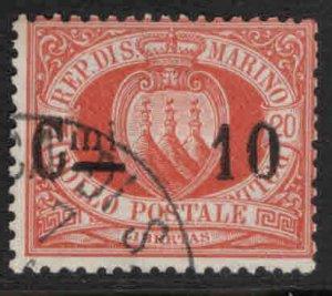 San Marino Scott 25 Used 1892 surcharged stamp CV$26