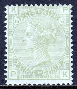 GREAT BRITAIN — SCOTT 70 (SG 153) — 1877 4d VICTORIA, SAGE GREEN — MH — SCV $775