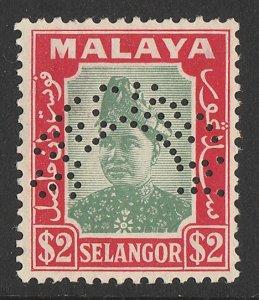 MALAYA - Selangor : 1941 Sultan $2 green & scarlet, perf SPECIMEN. MNH **.