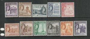 Malta 1956 QE2 Defs short set to 1/- UM/MNH SG 266/76
