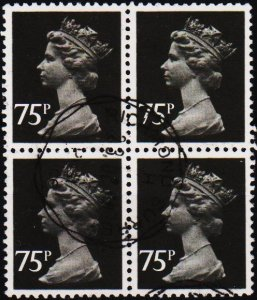 Great Britain. 1980 75p(Block of 4) S.G.X1023 Fine Used