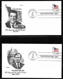 1981 Ronald Reagan/GHW Bush Inauguration covers with Artmaster cachets