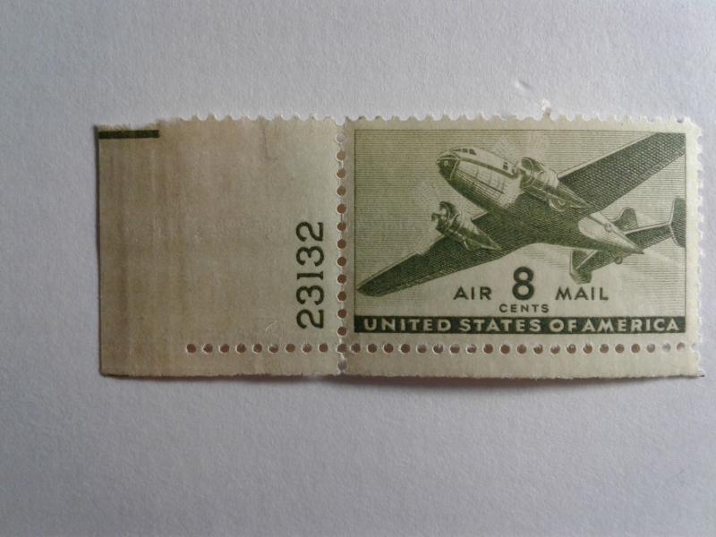 SCOTT # C 26  GEM WITH PLATE # AIR MAIL MINT NEVER HINGED GREAT CENTERING !!