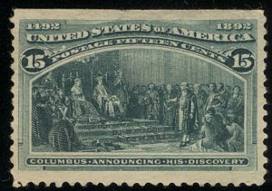US #238 SCV $200.00 VF JUMBO mint, nicely centered, fresh color, no gum, larg...