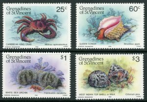 St. Vincent Grenadines Sc 472-5 Shellfish: Caribbean king crab, Queen conch