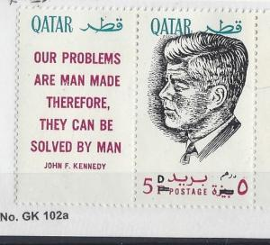 Qatar, MI: 121a, John F. Kennedy Ovpt. Black Single w/Label, **MNH**