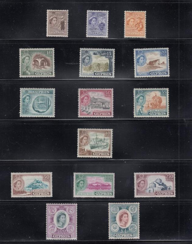 CYPRUS # 168-182 VF-MLH CAT VALUE $107+