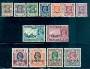 Burma #O28-O42  Mint H  Scott $66.40