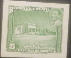 L) 1951 HAITI,ABN DIE PROOFS, AMERICAN BANK NOTE, SALINE DAYCARE, GREEN, ARCHI