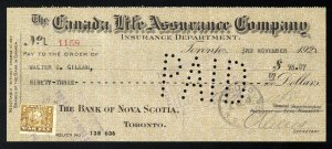C15 Canada Life Assurance Co. bank draft, 1921, revenue stamp Van Dam #FWT8