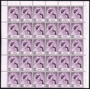 Aden SG31 Silver Wedding 10R Mauve A SUPERB U/M HALF SHEET of 30