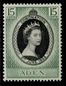 ADEN QEII SG47, 15c 1953 CORONATION, M MINT.