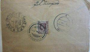 Burma 1939 Cover to Sikkon Kadapana CDS Madras on Rear Postal History