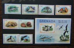 Grenada 1979 Marine Wildlife set & Miniature sheet MNH