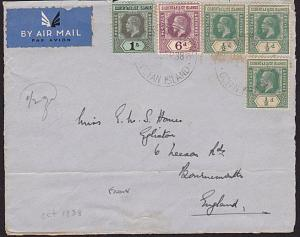 GILBERT & ELLICE IS 1938 airmail front with GV vals to 1/- ex Ocean Is.....68827