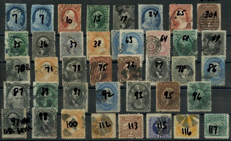 #7 // #117 (40) USED CLASSIC STAMPS 1851 - 1869 CV $12,845 WLM2124