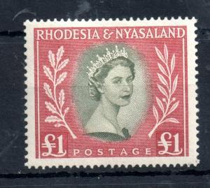 Rhodesia & Nyasaland 1954 £1 mint LHM SG#15 WS13127