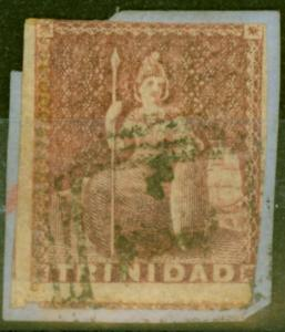 Trinidad 1859 Rose-Red SG38 Pin Perf 14 Good Used on Small Piece