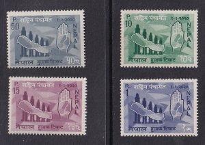 Nepal  #163-166  MNH  1963  map of Nepal and hand