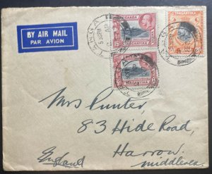 1937 Tanga Tanganyika British KUT Airmail Cover To Harrow M England