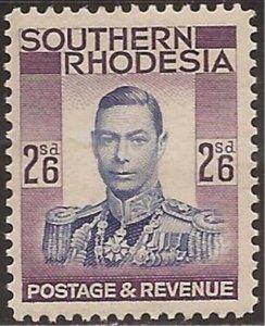Southern Rhodesia - 1937 2s6p  King George VI - Stamp MNH - Scott #53