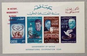 Qatar 1966 New Currency JFK UN MS. Bends. Scott 118 var. Mi BL 12B CV €320.00